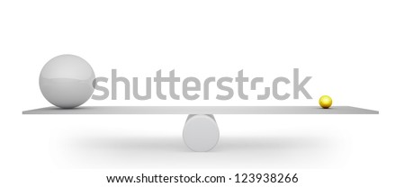 3D big grey sphere balanced with small golden one concept image. - stock photo