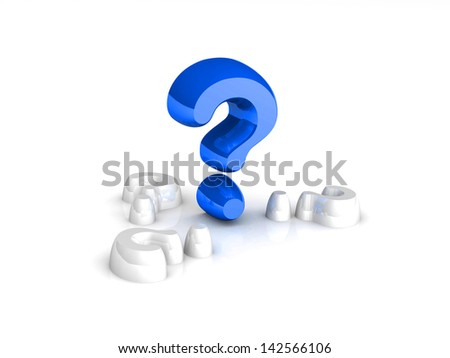 3d big question mark amongst white question marks on white background - stock photo