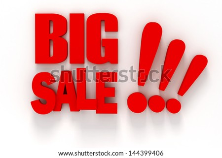 3d BIG SALE text on white background