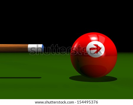 3d billiard red ball with an arrow - stock photo