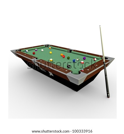 3d Billiards pool table with balls,chalk and cue-stick - stock photo