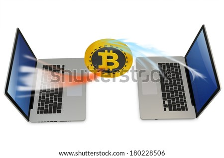 3d bitcoin with laptops exchanging currency  on white background - stock photo