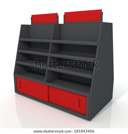 3d black and red store shelves and brand sign new design for products showing in minimart or department store isolated background with work paths, clipping paths included  - stock photo