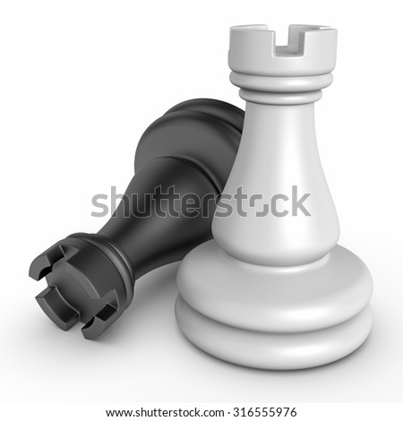 3d black and white chess pieces - stock photo