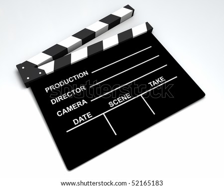 3D black and white clapboard for movie making - stock photo