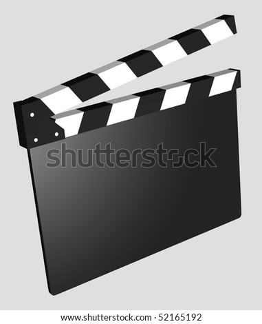 3D black and white clapboard for movie making, empty and isolated - stock photo