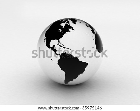3d black and white earth