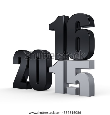 3d black 2016. 2015-2016 change represents the new year black 2016. 3d render illustration. Metallic 2016