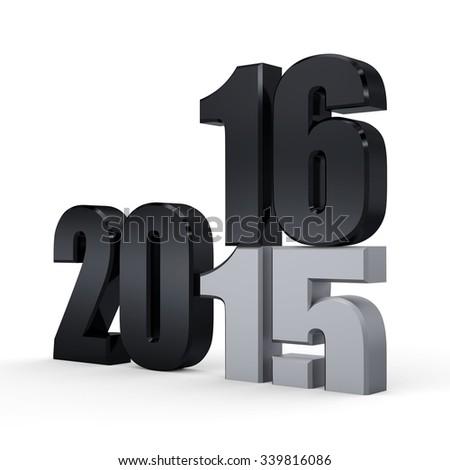 3d black 2016. 2015-2016 change represents the new year black 2016. 3d render illustration. Metallic 2016 - stock photo