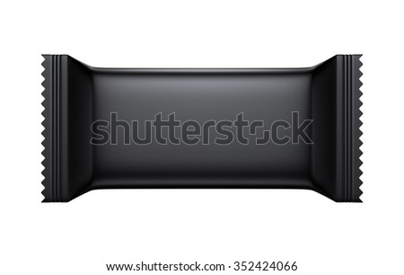 3D Black color Blank Sweet Snack packing design for wrappers, object isolated die cut - stock photo