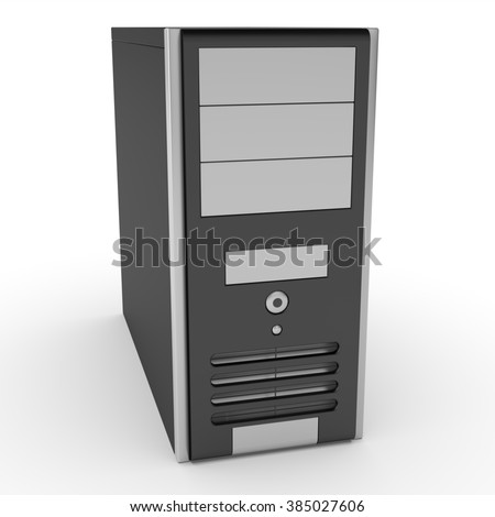 3d black computer case isolated on white background