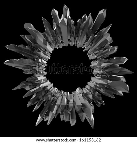3d black crystal shape, abstract round broken background - stock photo