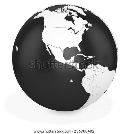 3d black earth globe  on white background - stock photo
