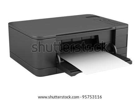 3d black office multifunction printer isolated on white background - stock photo