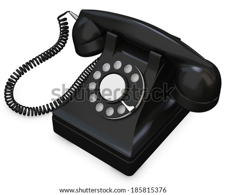 3d black old-fashioned phone on white background