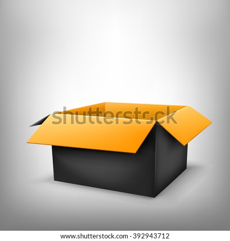 3D black outside orange inside open paper package on light white mesh background