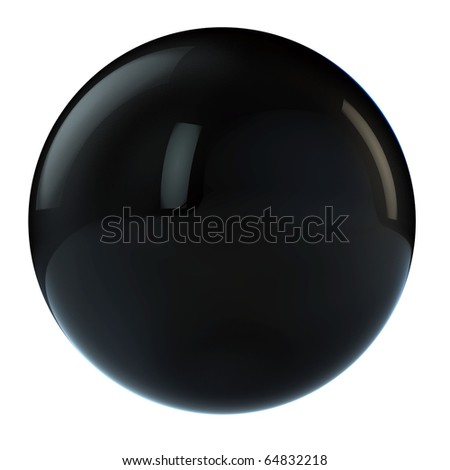 3d black  sphere in studio environment isolated on white - stock photo