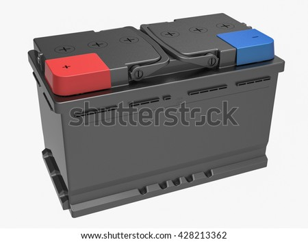 3D black truck battery on white
