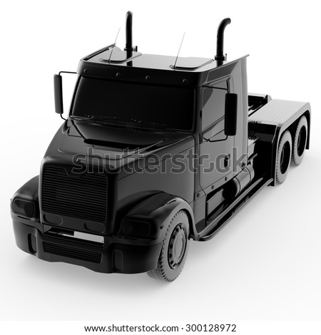 3d black truck isolated on white background