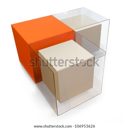 3d blank abstract cubes on white background