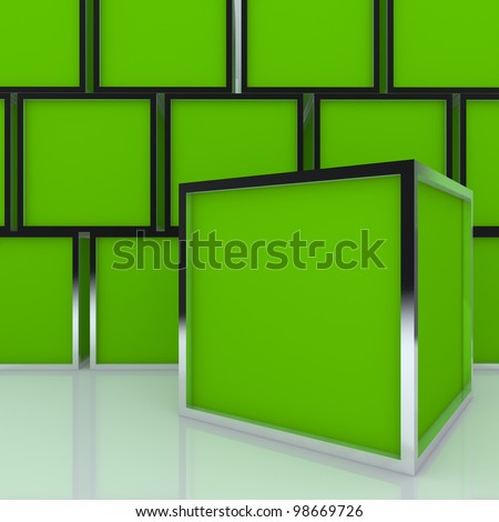 3D blank abstract green box display new design aluminum frame template for design work, on white background.