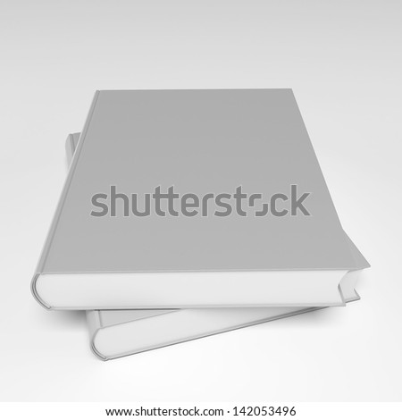 3d Blank book cover over white background - stock photo