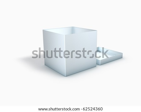 3D Blank Box with Cover - stock photo