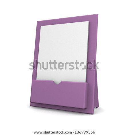 3d Blank brochure holder template for designers. - stock photo