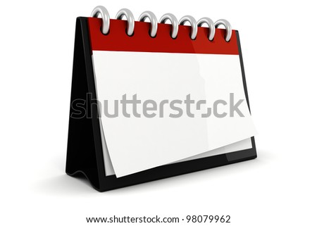3d blank calendar ilustration - stock photo