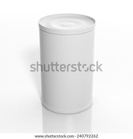 3D blank can mockup isolated on white - stock photo