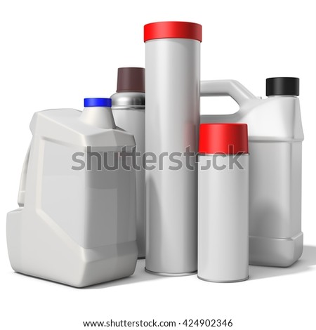 3d blank container, bottle, can collection on white background 3D illustration - stock photo