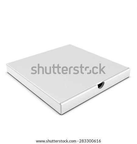 3d blank flat box on white background - stock photo