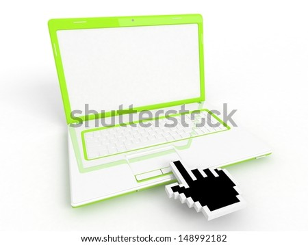 3D blank laptop computer and hand cursor on white - stock photo