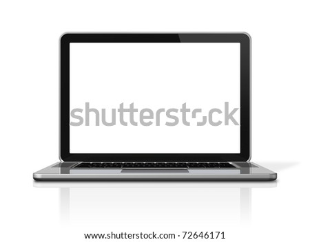 3D blank laptop computer isolated on white - stock photo