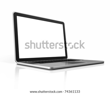 3D blank laptop computer isolated on white with clipping path - stock photo