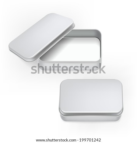 3d blank metal box template isolated on white background - stock photo