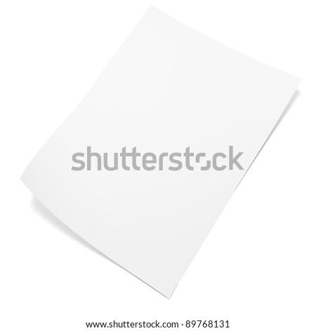 3d blank paper sheet - stock photo