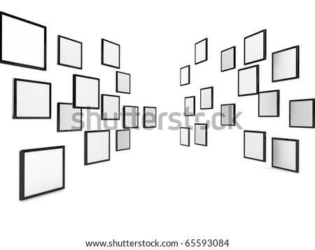3d blank posters over white, Computer generated image - stock photo