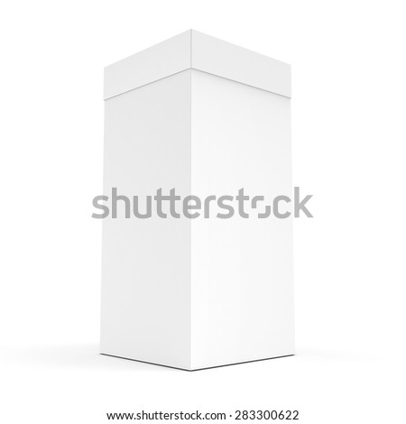 3d blank product box packaging on white background