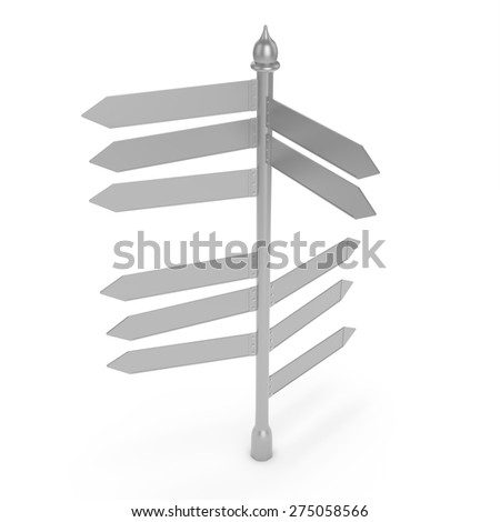 3d blank road sign isolated over white background - stock photo