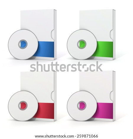 3d blank software package and dvd on white background - stock photo
