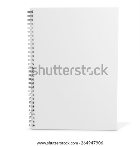 3d blank spiro notebook on white background  - stock photo