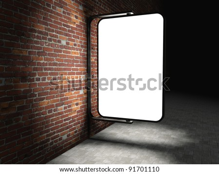 3d Blank street advertising billboard on brick wall at night - stock photo