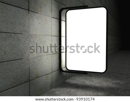 3d Blank street advertising billboard on tiles wall at night - stock photo