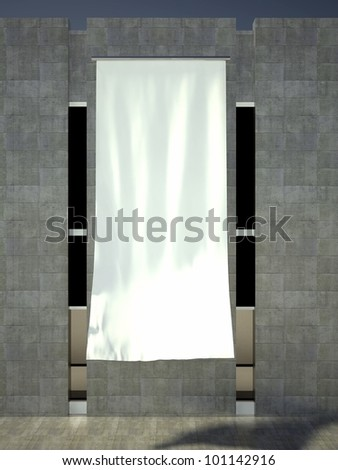 3d blank street advertising flag on building wall - stock photo