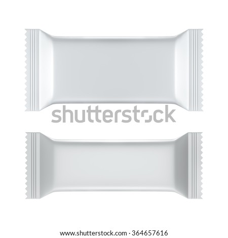 3D Blank Sweet Snack packing white color design for wrappers set of two, object isolated die cut - stock photo