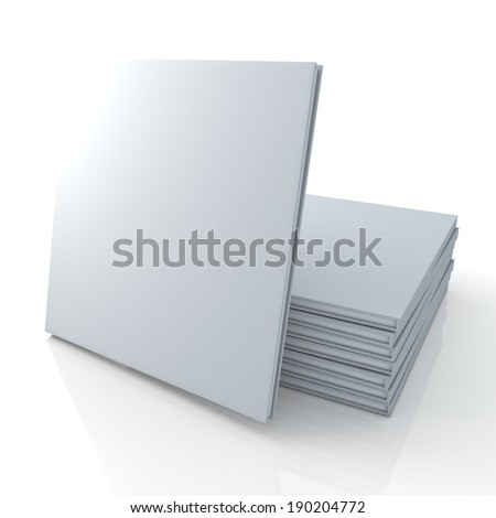 3D blank template clean white cover goods catalogs square type is in front of pile and reflection in isolated background with work paths, clipping paths included - stock photo