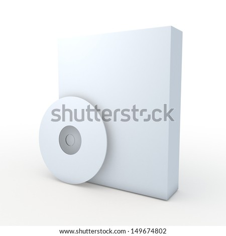 3d blank template software boxes and CD, DVD, Blu-ray disk in isolated with clipping paths, work paths included  - stock photo