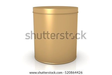 3D blank tin container isolated on white background