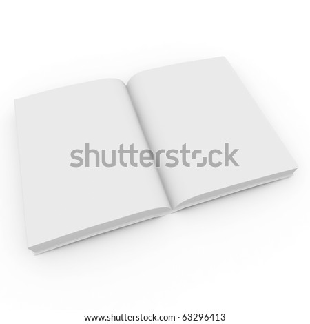 3d blank white  book isolated on white - stock photo